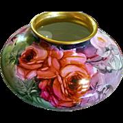 Large Limoges P.H. Leonard Hand Painted Rose Squat Vase,  Artist Signed,Ca 1989-1907