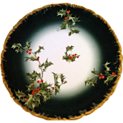 Limoges Hand painted Holly Berry Plate