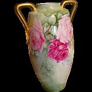 Antique Huge Limoges Rose Austria Hand Painted Vase Ca Early 1900's