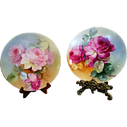Limoges Hand Painted  2 Rose  Plaque Plate Set