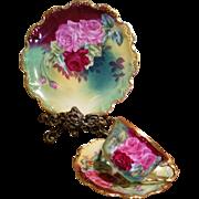 Limoges Hand Painted Rose Cup Saucer Dessert Plate Set