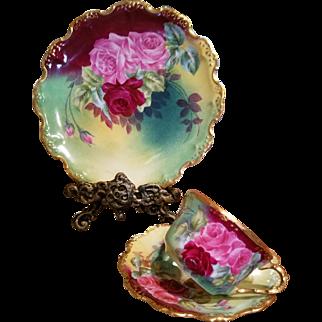 "Limoges Hand Painted Rose Cup Saucer Dessert Plate Set,  Artist Signed ""Leroy"""