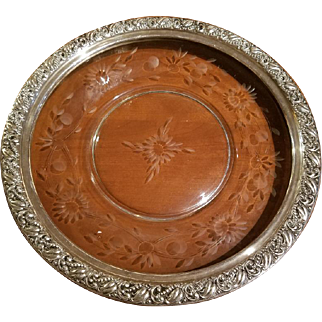 Antique Sterling Silver Repose  Etched Glass  Tray