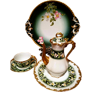 Limoges Hand Painted Tea Coffee Individual Pot Cup /Saucer /Plate / Charger Dessert Set