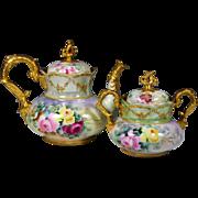 German Hand Painted Jeweled Rose Gold Tea Coffee Chocolate Pot Sugar Bowl Set ,Ca 1900