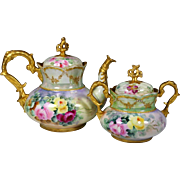 German Hand Painted Jeweled Rose Gold Tea Coffee Chocolate Pot Sugar Bowl Set ,Ca 1900