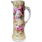 Large Limoges Hand Painted Rose Tankard Pitcher
