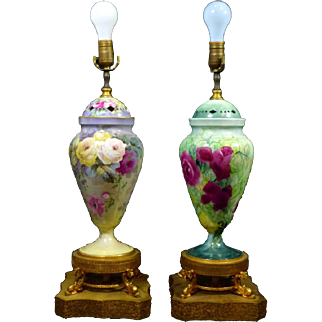 2 Limoges  Hand Painted Rose Urn Vase Lamps