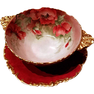 Limoges Hand Painted Red Poppy Mayonnaise Bowl Dish Underplate