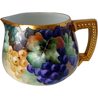 "Large Limoges Hand Painted Grape Pitcher ,Artist Signed , ""C. Malmberg"""