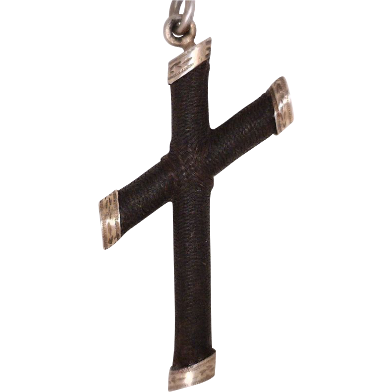 Victorian Mourning Cross Pendant 14 Karat Gold Rose Color