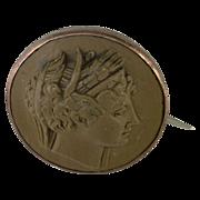 1850s Green Lava Cameo Pin