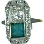 Emerald Diamond Ring Vintage Filigree 18 Karat Yellow Gold
