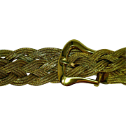 Vintage Woven & Braided Bracelet Solid Belt Buckle Clasp 10 Karat Yellow Gold 8.5 Inches Long 1/2 Wide Fox Tail Chain