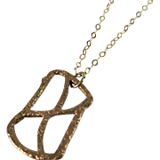 14K Yellow Gold Pendant Motif is a Stylized X Inside a Rectangular