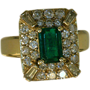 Emerald and Diamond Vintage Ring Emerald-Cut 1.08 CTS and 30 Various Cut Diamonds 1.10 CTW Size 7 3/4 Kathy Bates Personal Jewelry Collection