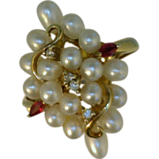Pearl, Ruby, Diamond Cluster Ring 14 Karat Gold