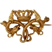 Jewelry Estate Pin Serpent and Crown 14 Karat Gold Kathy Bates