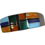 Native American Artisan Gemstone Ring Mosiac Inlay Sterling Silver