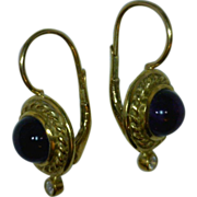 Amethyst Cabochon and Diamond 18 Karat Gold Dangle Earrings, Vintage Lever Back,  2.6 Total Carat Weight, 3/4 of an Inch Long Kathy Bates Collection