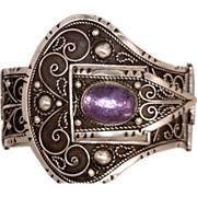 Bracelet 2 Inches Wide Victorian-Style Belt and Buckle Sterling Silver 925 Oval Gemstone Artisan Noteworthy Provenance