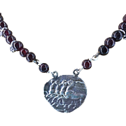 """Chariot of the god 999 Silver Horses Pendant with Garnet 18"""" Necklace"""