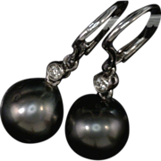 Artisan Jewelry Cultured Salt Water Pearl and Diamond Earrings Black Tahitians