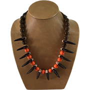 Bear Claws, Orange, Brown Crow Beads Necklace Vintage Native American 12 Wood Carved Claws 29 1/2 Inches