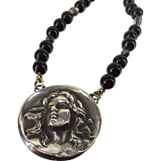 Art Nouveau Woman with Flowing Hair Pendant Suspended from an Artisan made 21 Inches Long Black Onyx, Mirrored Crystals and Vintage Links Necklace Sterling Silver Findings