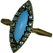 Navette Ring Antique 14K Rose Gold with Marquise Persian Turquoise Surrounded by 20 Mine-Cut Diamonds Size 7 1/4
