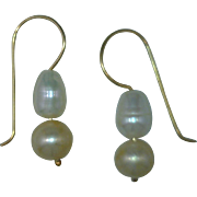 Cultured Freshwater Pearl Dangle Drop Earrings, White, Dark Champagne, 14 Karat Gold Findings, 0.67 of an Inch Long