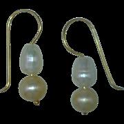 Cultured Freshwater Pearl Dangle Drop Earrings, White, Dark Champagne, 14 Karat Gold Findings, 0.67 of an Inch Long