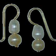 """Pearl Dangle Earrings """"Peach and White"""" 14 Karat Gold Custom"""