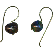 Pearl Dangle Earrings with 14 Karat Gold Ear-wire Shepherds Hook, 1 1/18 Inches Long, Semi-Baroque Cultured Freshwater Grey Body Color, Rose' Overtones with Orient