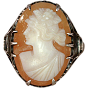 Cameo Ring Sterling Silver Filigree Vintage New Orleans Estate