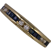 Princess Cut Sapphires 2.50 CTW Round Diamonds 0.75 DW Channel Set in 14K Yellow Gold Eternity Band and 4mm Wide Size 7.5
