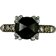 Black Diamond Ring Old 1.63 CT Rose Cut Stone Flanked by Pink Diamonds 14K Gold White Yellow 1940's Size 4.5