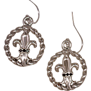 Artisan Earrings Fleur de Lis Emblem Inset In An Open Twisted Frame 925 Sterling Silver Accented with 6 Black Diamonds