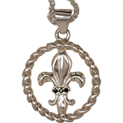 Artisan Pendant Fleur de Lis Emblem Inset In An Open Twisted Frame 925 Sterling Silver Accented with 3 Black Diamonds
