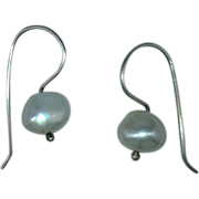 Pearl Dangle Earrings Sterling Silver Cultured Freshwater White, Peach