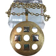 1970's Gold Metal Chain and Medallion Necklace Raised Gold and White Metal Squares and Open Circles 38 Inches