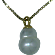 "Pearl Pendant Cultured Southwater Pearl Australian Silvery White 18K Pendant ""The Snowman"""