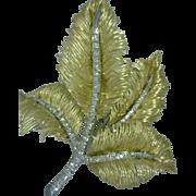 Mid-20th Century 18K Gold Diamonds Leaf Pin Italian Yellow White Gold