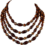 Vintage Amber Copper Gold Plastic Bead Necklace 4 Strands 13.5 Inches with 2.5 Inches Chain Extender