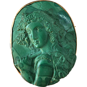 Rare Malachite Bacchus Cameo Pin Depicting Hand-Carved High Relief Bacchus 10K Rose Gold Hand-made Bezel Frame with Original Pin