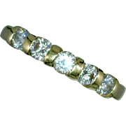 Diamond 5 Stone Channel/Bar-Set Ring Flat Shank 14K Yellow Gold Vintage 0.45 CTW Size 6 7/8 or 18.056mm
