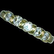 Bar Set 5 Stone Diamond Ring Flat Shank 14K Yellow Gold Size 6 7/8 or 18.056mm