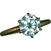 Mid-Century Modern Solitaire Diamond Ring 1.45 Carats 14K Yellow, White Gold Rhodium Plated Size 6 3/4