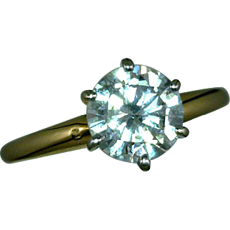 Mid-Century Modern Solitaire Diamond Ring 1.45 Carats 14K White Gold Rhodium Plated Size 6 3/4