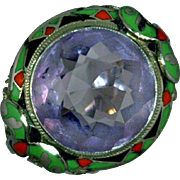 Amethyst Art Deco Ring Sterling Silver Filigree Enamel Red Green Black 1920-1930 Size 7 1/4